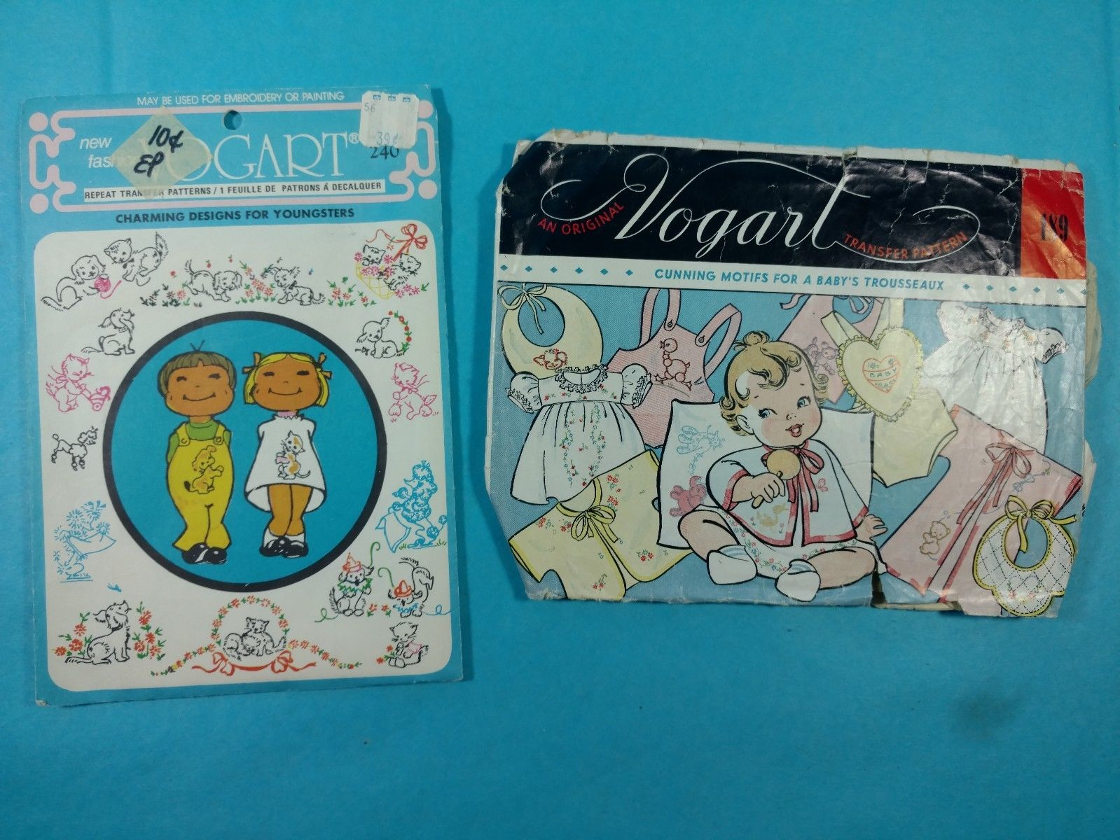 John Deere Embroidery Patterns Lot 148 Group Of 2 Vintage Sewing Patterns Vogart Embroidery Patterns