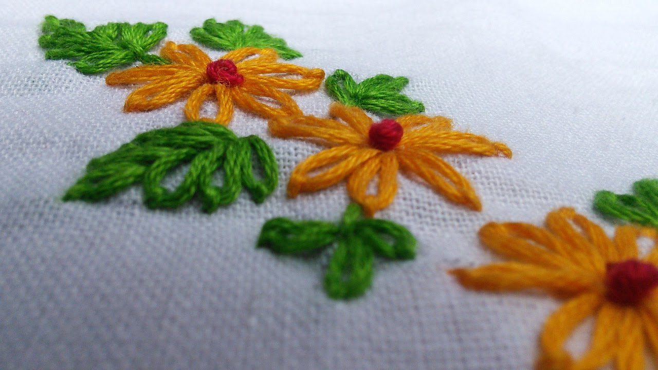 Make Embroidery Pattern Easy Hand Embroidery Works Lazy Daisy Handiworks Tutorials 11