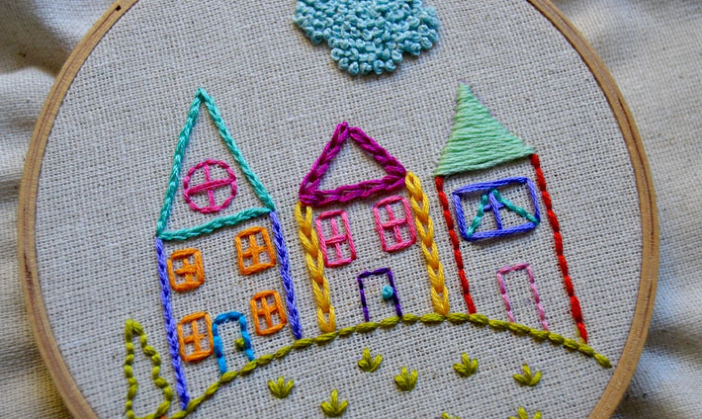 Make Embroidery Pattern Embroidered House Neighborhood Tutorial