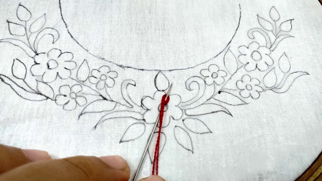 Make Embroidery Pattern How To Make Beautiful Neckline Embroidery Design For Dress