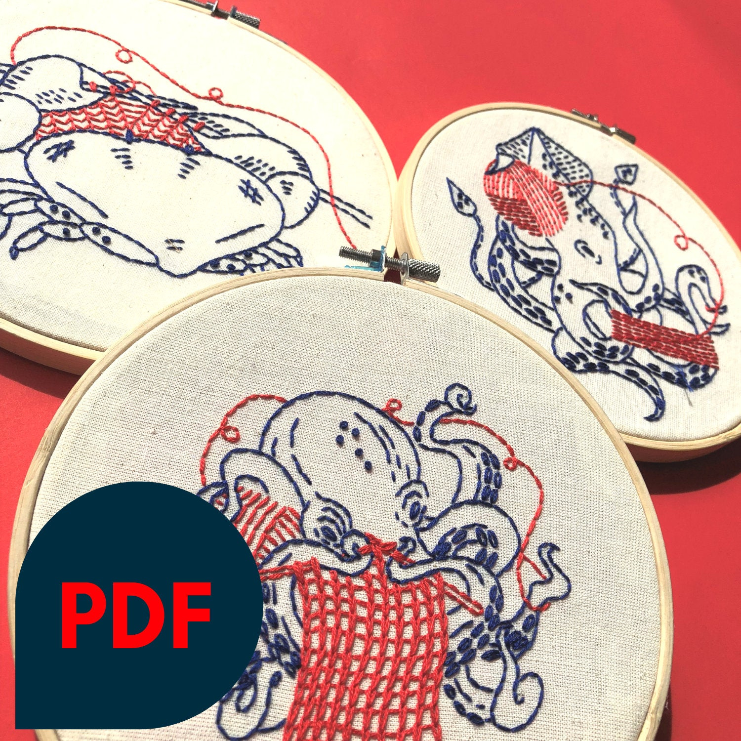 Nautical Embroidery Patterns Bundle Embroidery Pattern Downloadable Pdf Nautical Knitting Collection Squid Crab Octopus