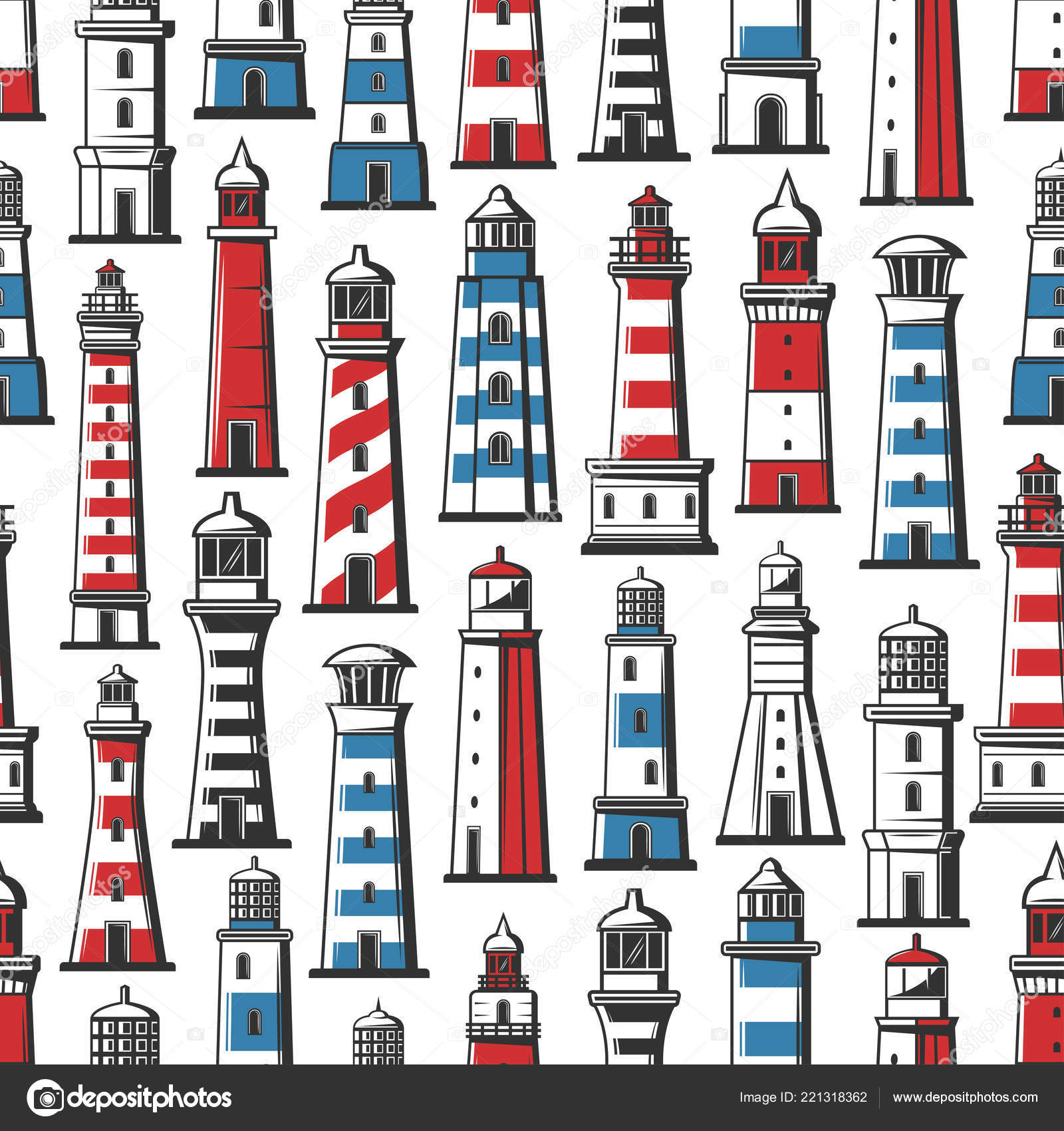 Nautical Embroidery Patterns Lighthouse And Beacon Nautical Seamless Pattern Stock Vector