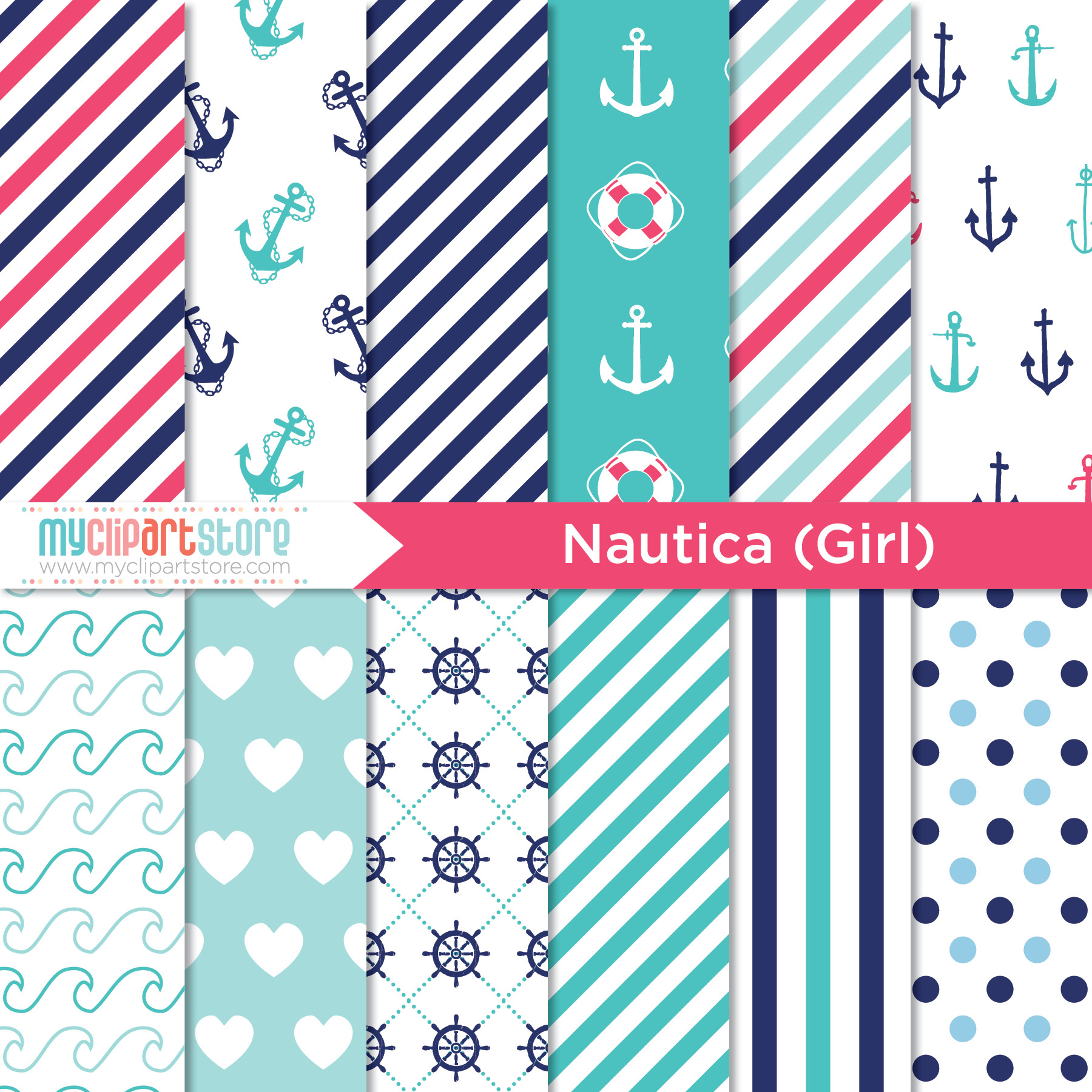 Nautical Embroidery Patterns Nautical Girl Clipart Combo