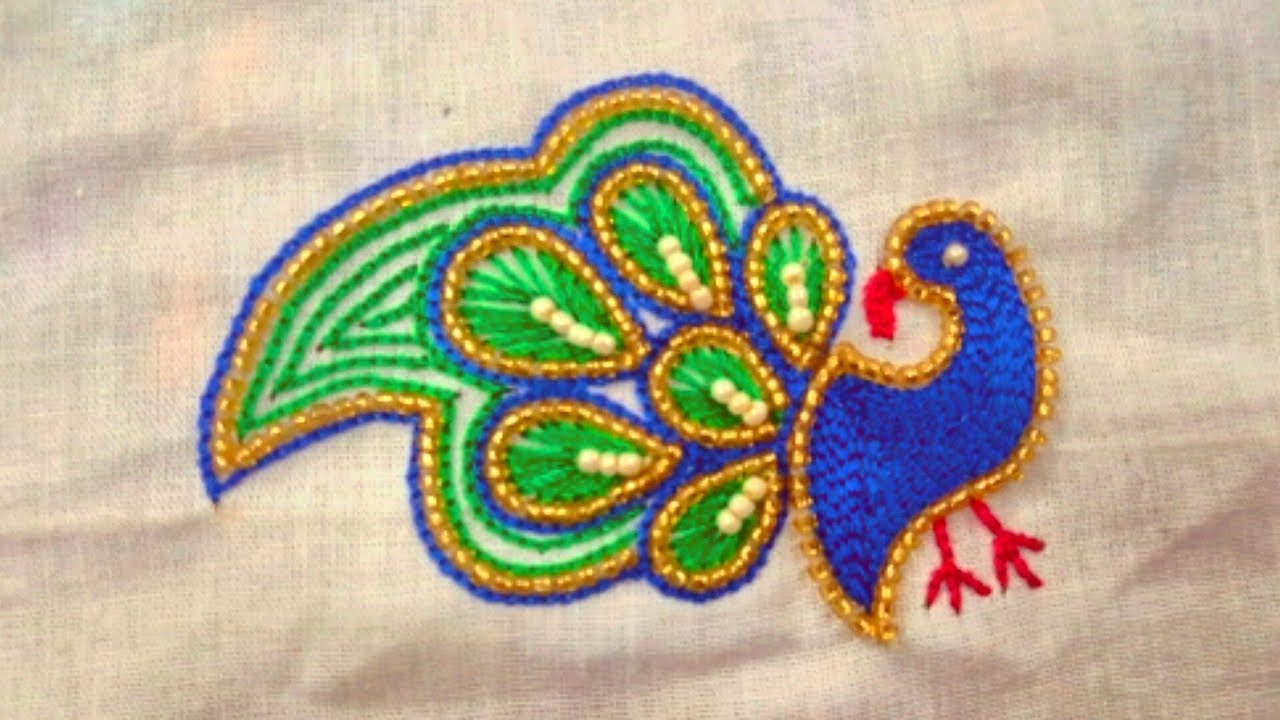 Peacock Embroidery Patterns How To Do Peacock Embroidery Work Easy Peacock Feather Design In Aari Work