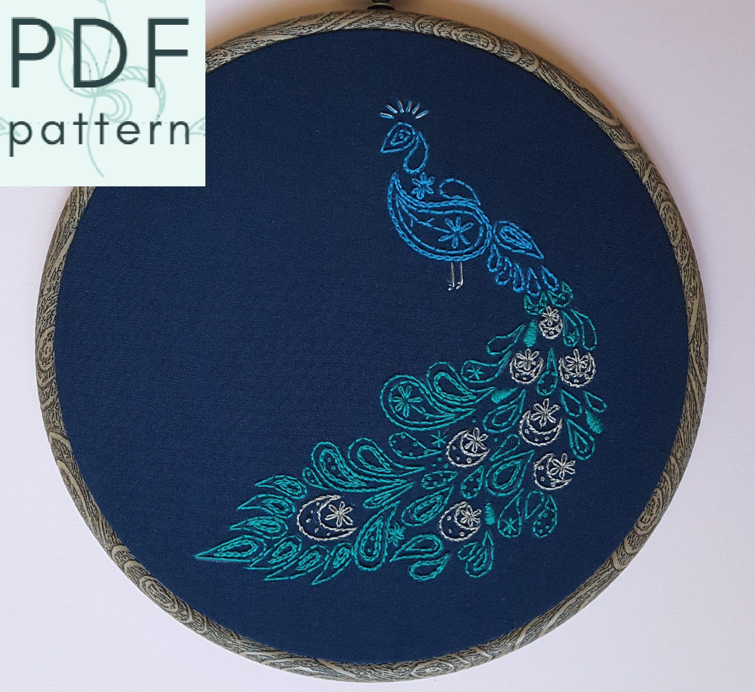 Peacock Embroidery Patterns Paisley Peacock Embroidery Pattern Pdf Hand Embroidery Contemporary Embroidery Hoop Art Instant Download