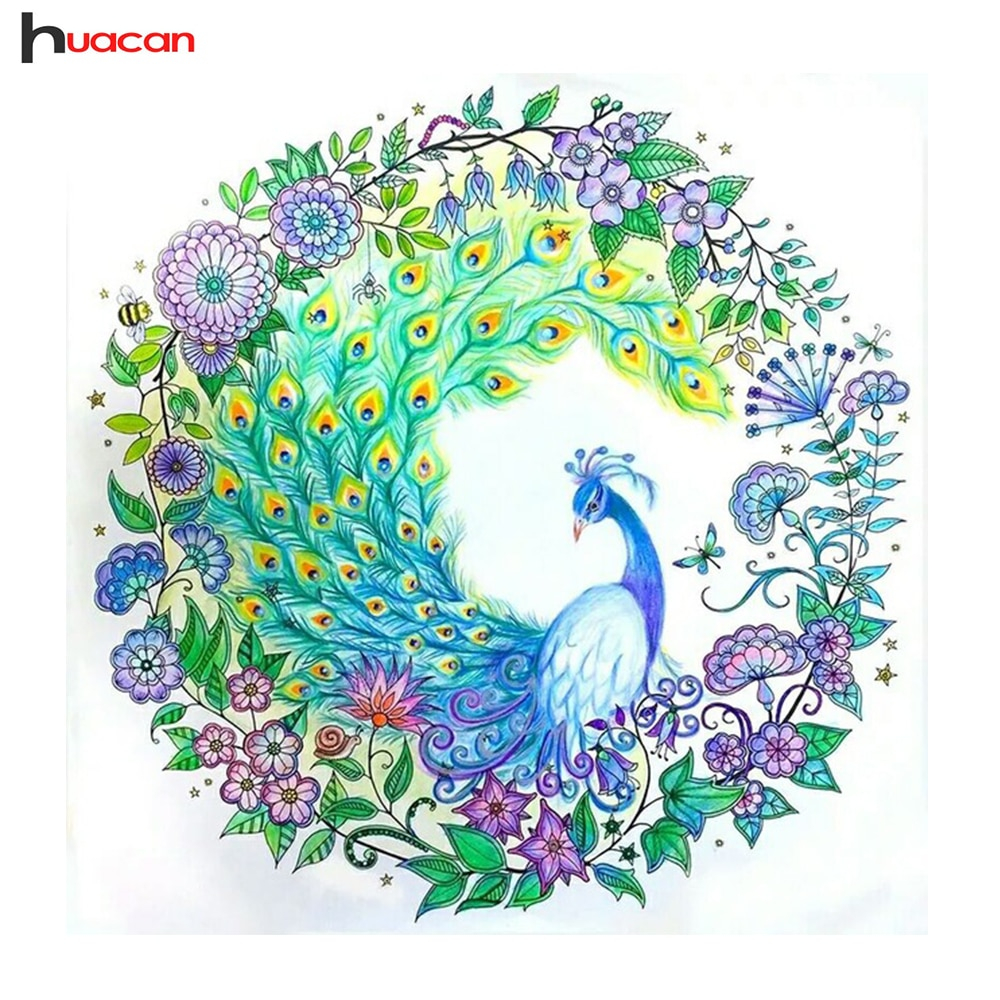 Peacock Embroidery Patterns Us 782 49 Offhuacan Diy 5d Diamond Painting Cross Stitch Peacock Home Decor Art Gift Resin Diamond Mosaic Embroidery Patterns Rhinestone In