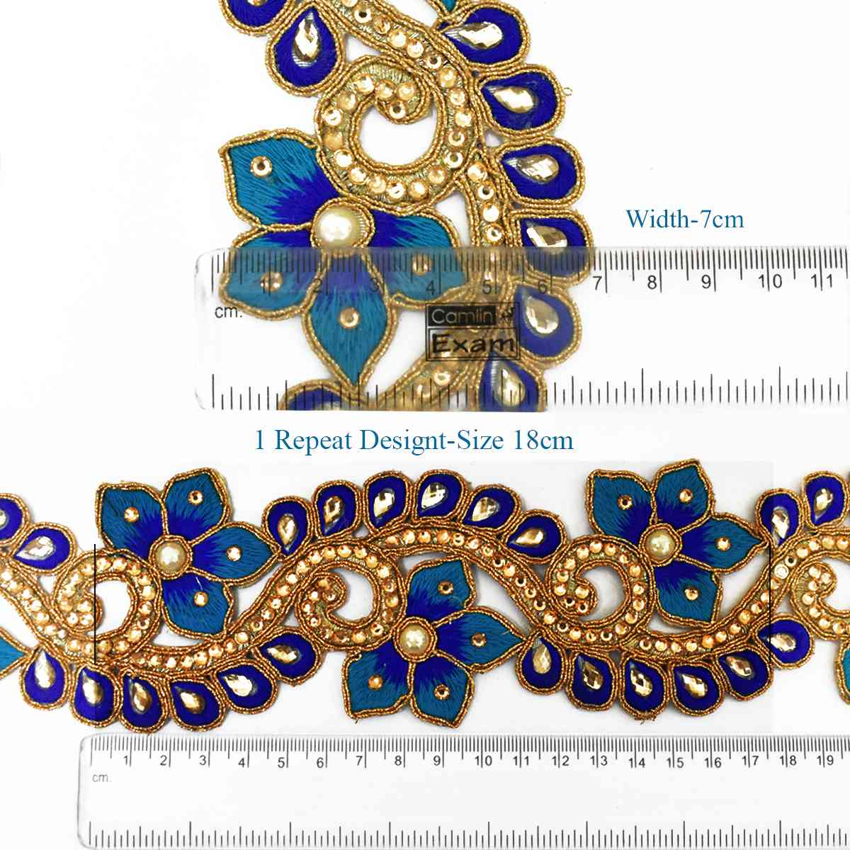 Peacock Hand Embroidery Pattern 1 Meter Peacock Color Floral Design Cutwork Hand Embroidery Lace