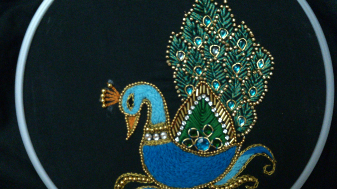 Peacock Hand Embroidery Pattern Hand Embroidery Designs Aari Style Peacock Embroidery For Ghagras Dresses Sarees And Blouses