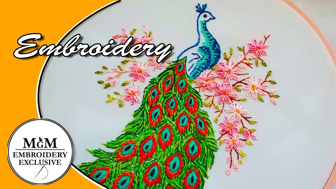 Peacock Hand Embroidery Pattern Hand Embroidery Peacock