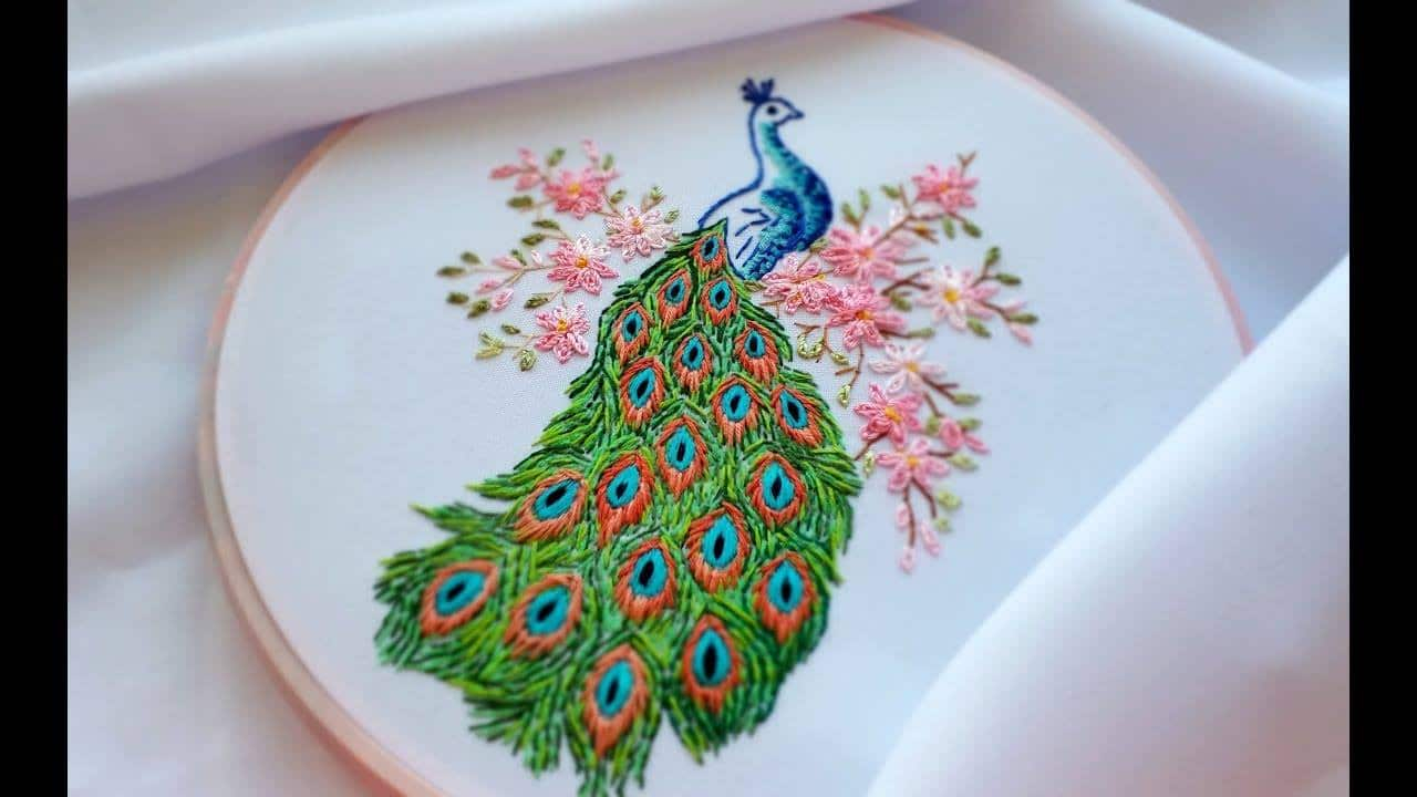 Peacock Hand Embroidery Pattern How To Do Hand Embroidery Peacock Simple Craft Ideas