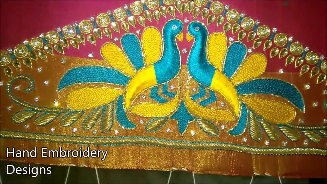 Peacock Hand Embroidery Pattern Maggam Work Blouse Designs Peacock Hand Embroidery Designs Basic Embroidery Stitches