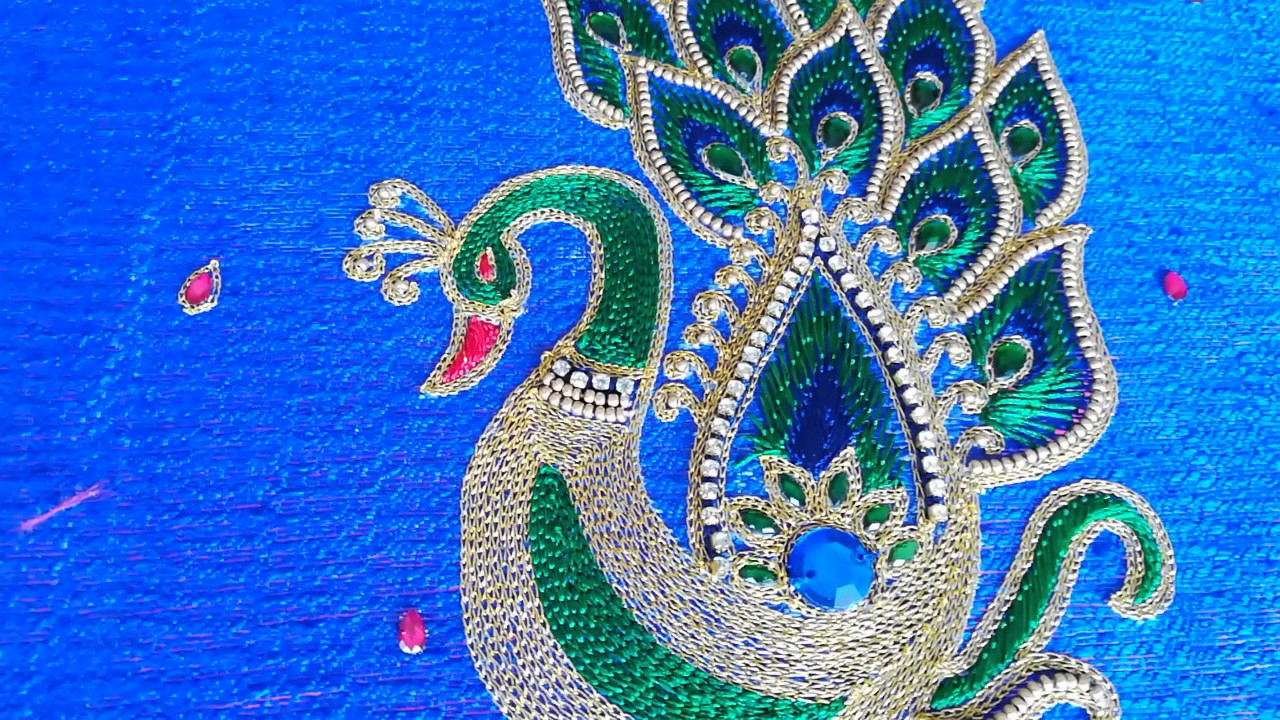 Peacock Hand Embroidery Pattern Peacock Hand Embroidery Design Angalakruthi Bangalore Boutique