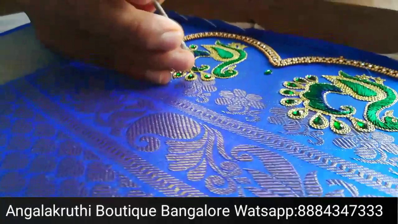 Peacock Hand Embroidery Pattern Peacock Hand Embroidery Designs For Saree Kutch