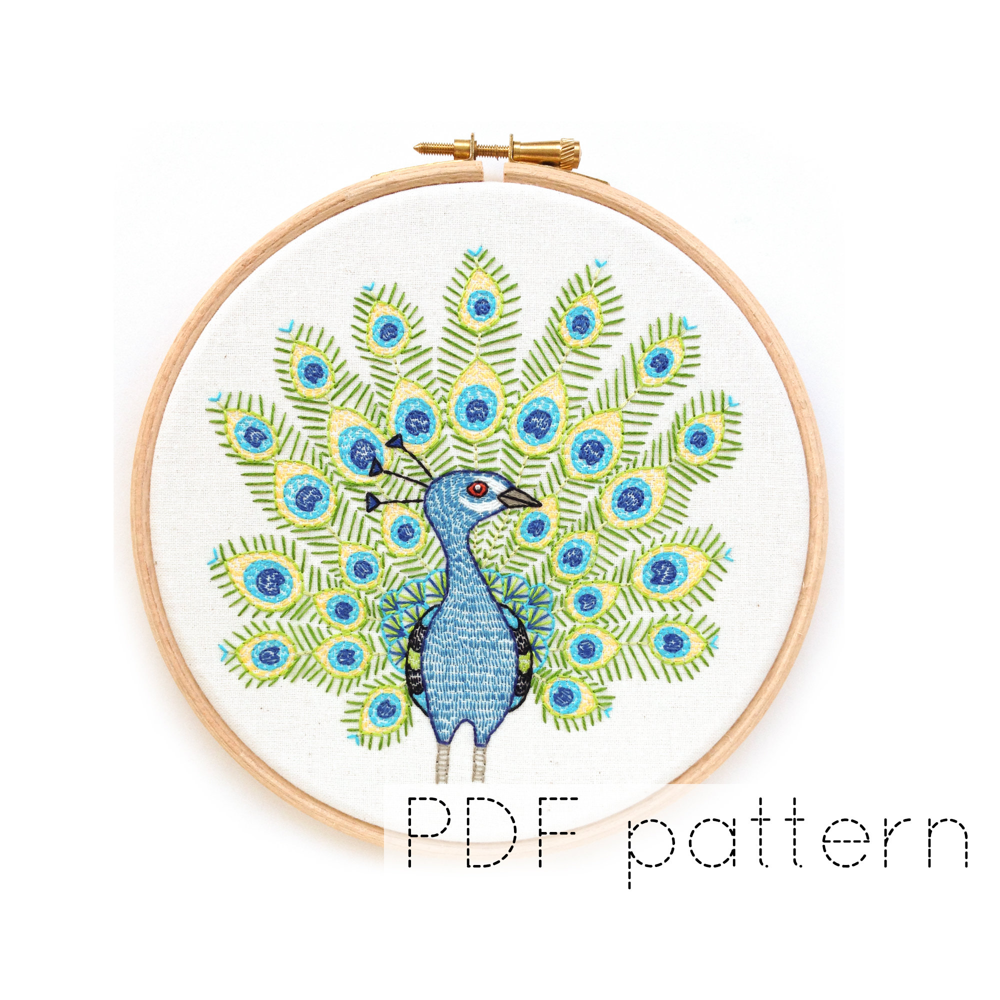 Peacock Hand Embroidery Pattern Peacock Hand Embroidery Pattern Pdf Instant Download