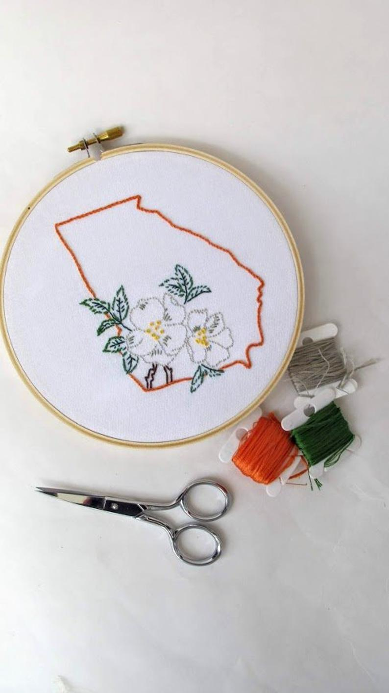 Rose Patterns For Embroidery Digital Hand Embroidery Pattern I Georgia With Cherokee Rose Design I Easy Beginner Pattern
