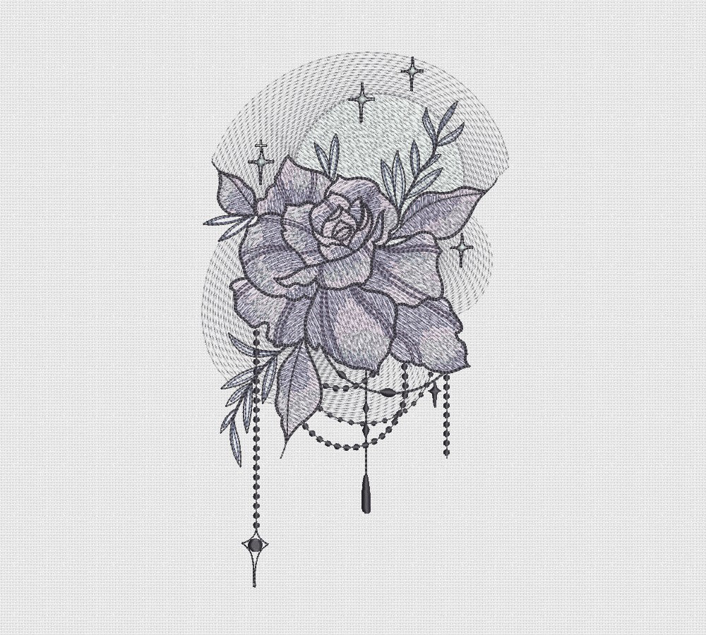 Rose Patterns For Embroidery Embroidery Design Rose Moon Download Embroidery Instant Digital Ta245