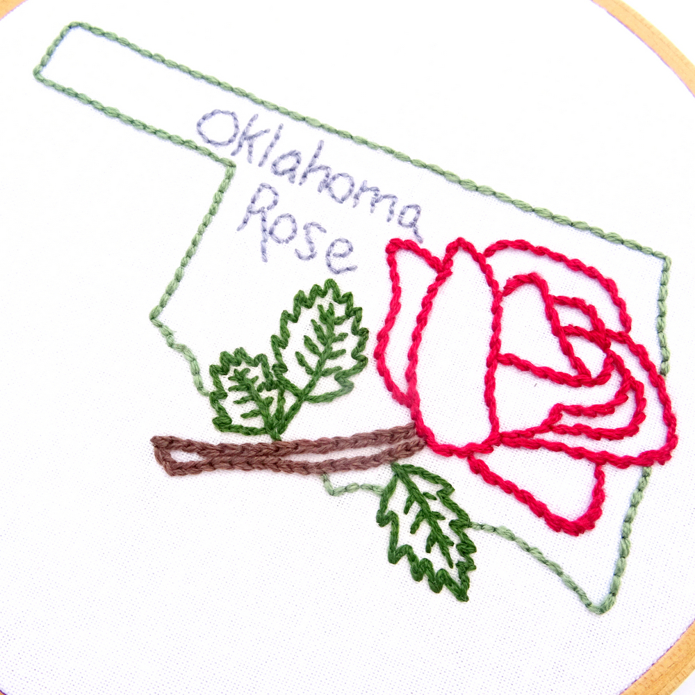 Rose Patterns For Embroidery Oklahoma Flower Hand Embroidery Pattern Oklahoma Rose