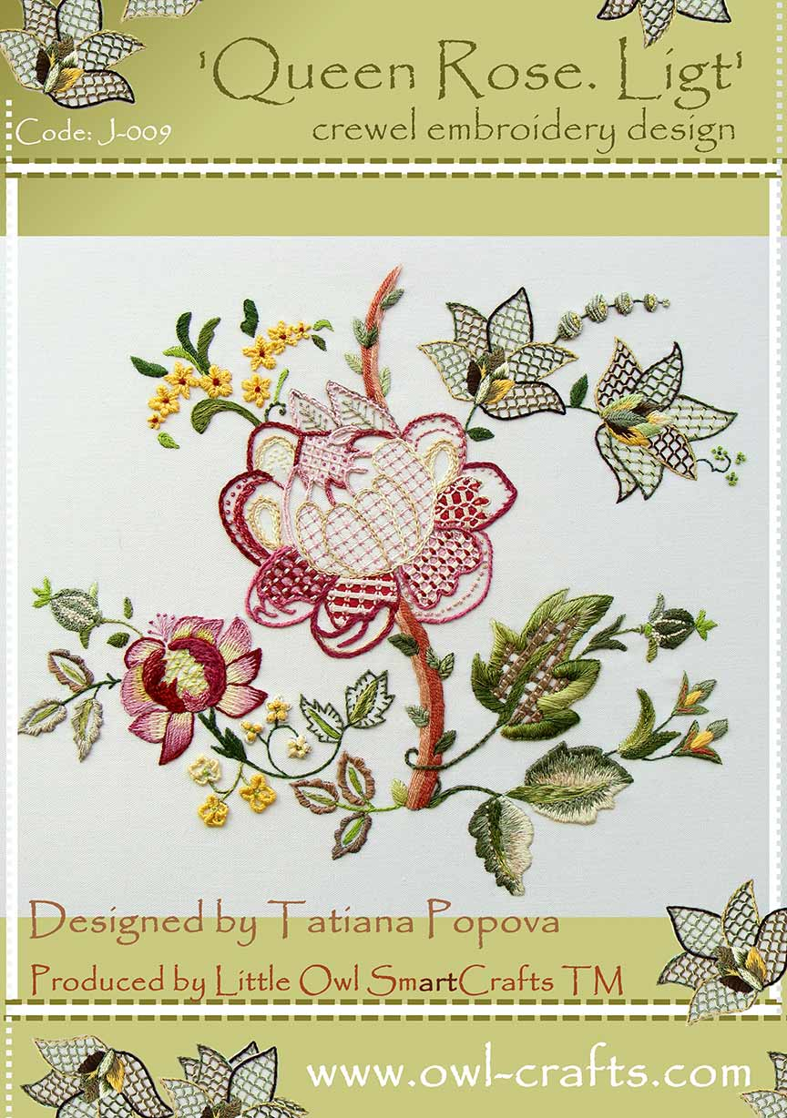 Rose Patterns For Embroidery Queen Rose Light Crewel Embroidery Design