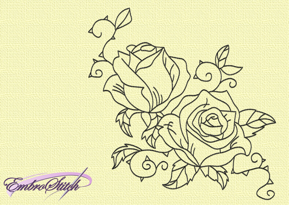 Rose Patterns For Embroidery Rose Blossom Embroidery Design 3 Sizes