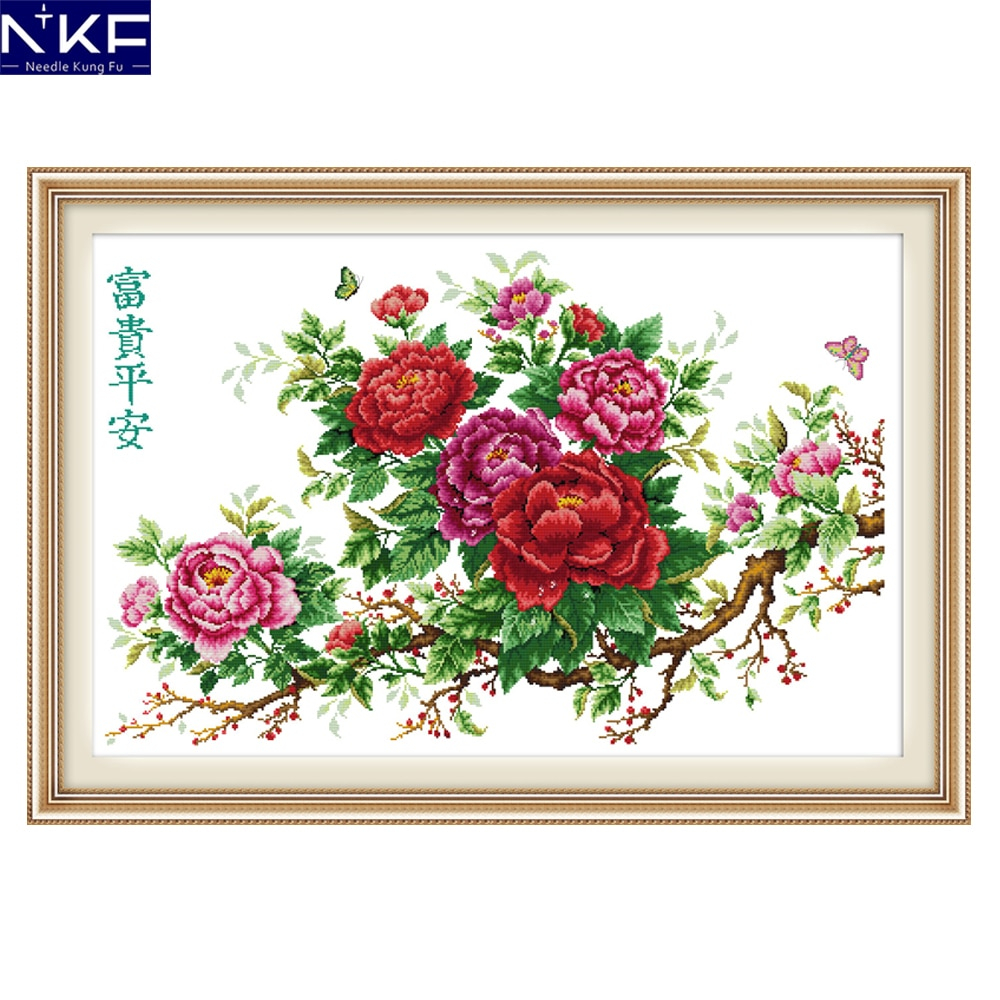 Rose Patterns For Embroidery Us 1658 48 Offnkf Riches Honour And Peace Flower Style Needlework Embroidery Sets Stamped Counted Cross Stitch Patterns For Home Decoration In