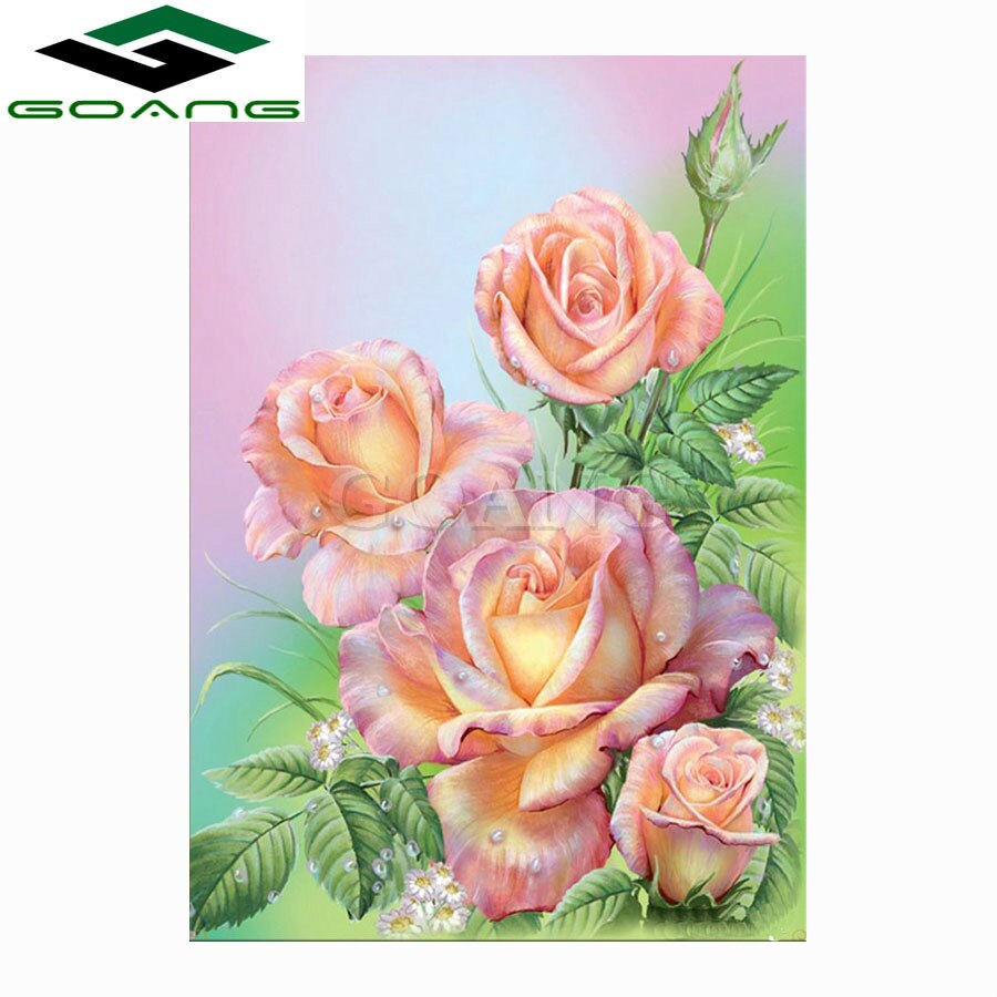 Rose Patterns For Embroidery Us 47 49 Offgoang Diy 5d Diamond Mosaic Pink Roses Diamond Painting Cross Stitch Kits Diamond Embroidery Flower Patterns Rhinestones Arts In