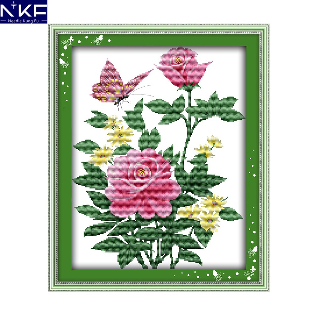 Rose Patterns For Embroidery Us 769 48 Offnkf Pink Rose And Butterfly Flower Style Design Needlework Sets Embroidery Design Cross Stitch Patterns For Home Decoration In