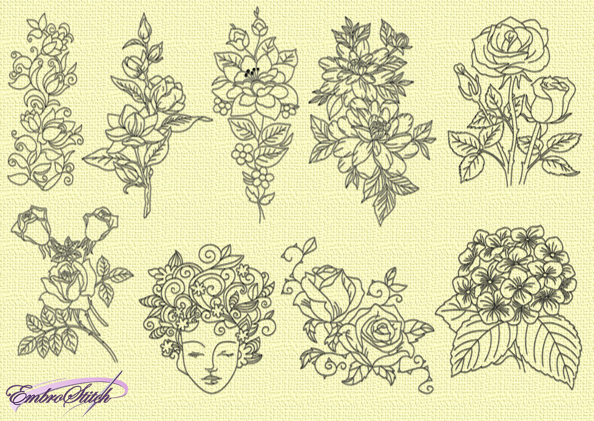 Rose Patterns For Embroidery Various Flowers Embroidery Designs Pack 9 Qty