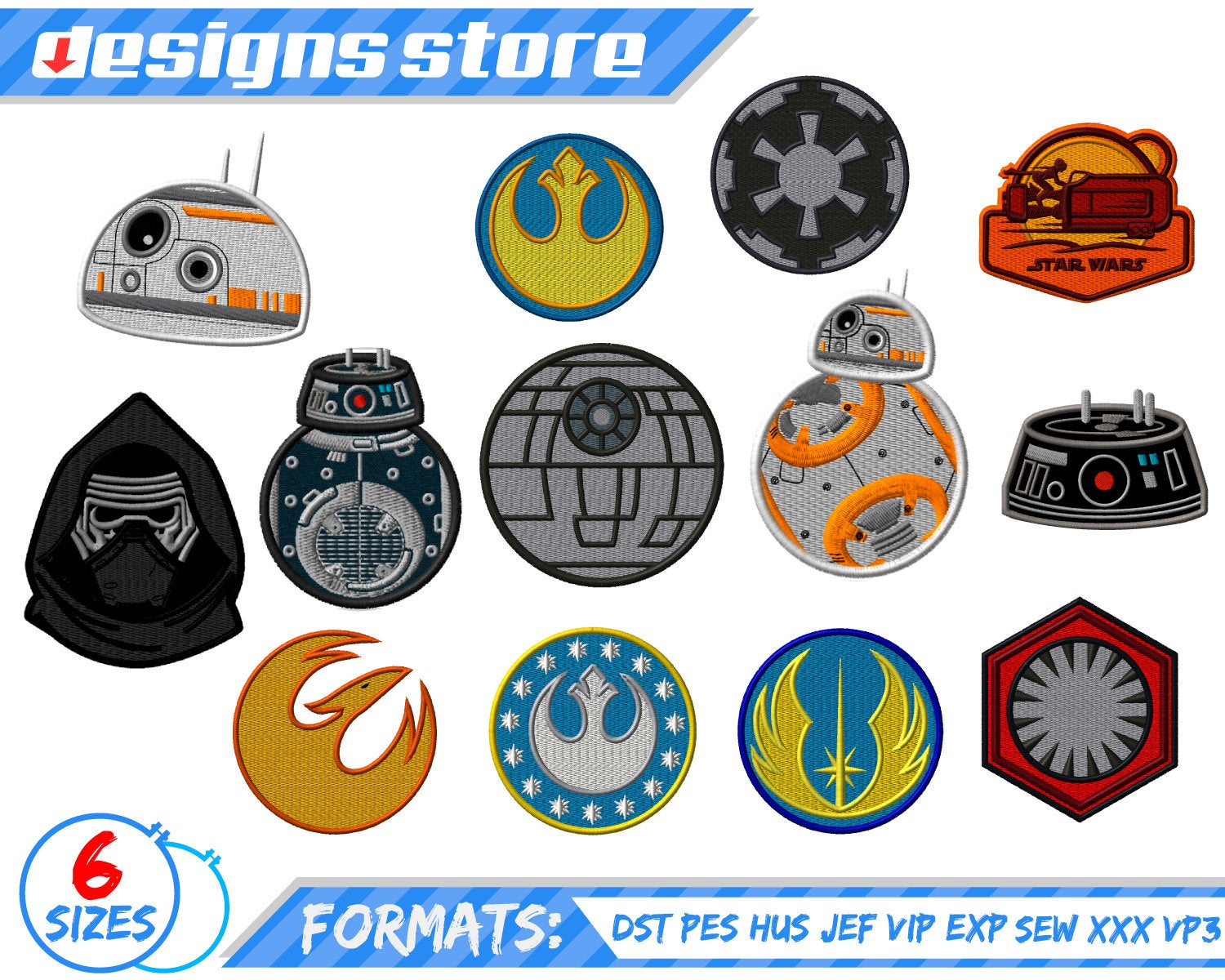 Star Wars Embroidery Pattern Star Wars Bb8 Embroidery Design Machine Star Wars Embroidery Pattern