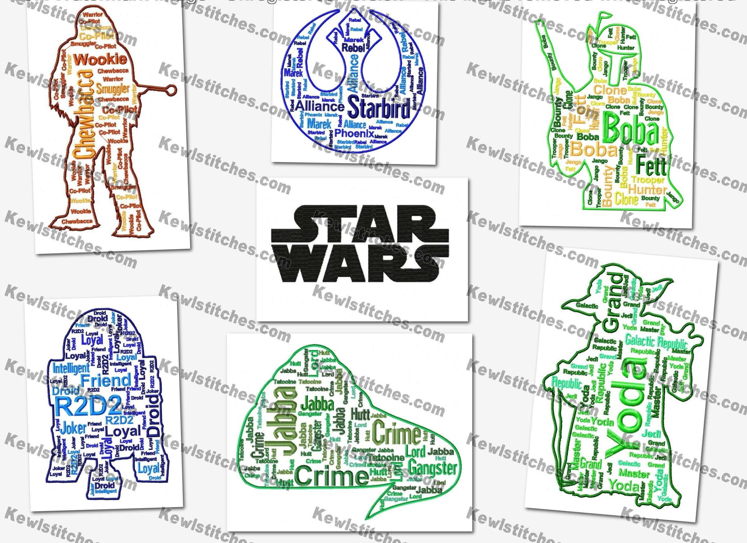 Star Wars Embroidery Pattern Star Wars Cloud Text Art Embroidery Designs Set 3 8x10 Hoops