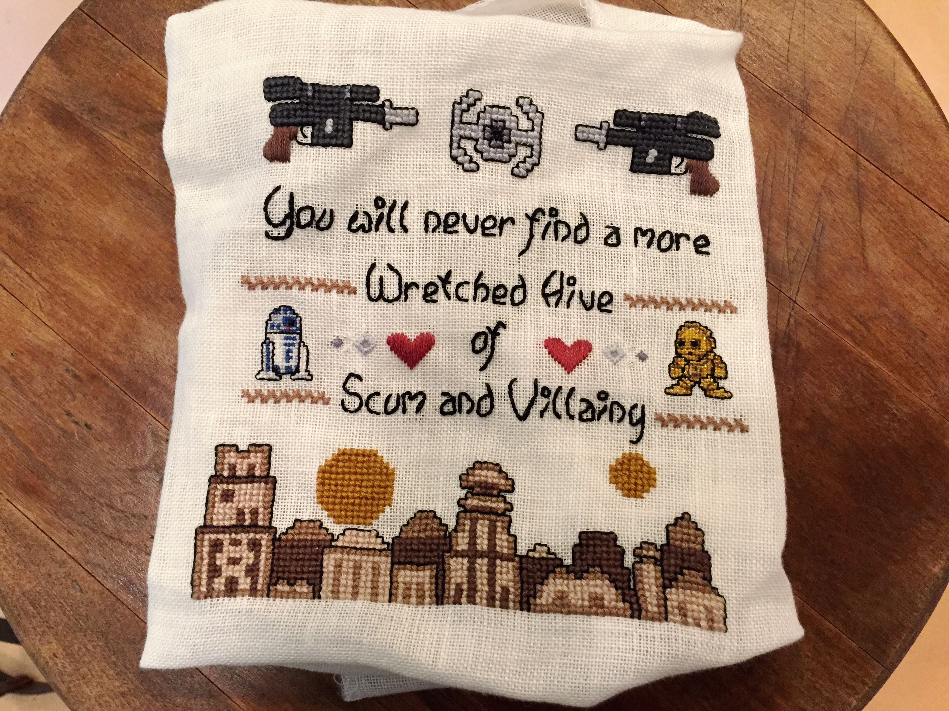 Star Wars Embroidery Pattern Star Wars Crafts Episode I My Mos Eisley Cross Stitch Sampler