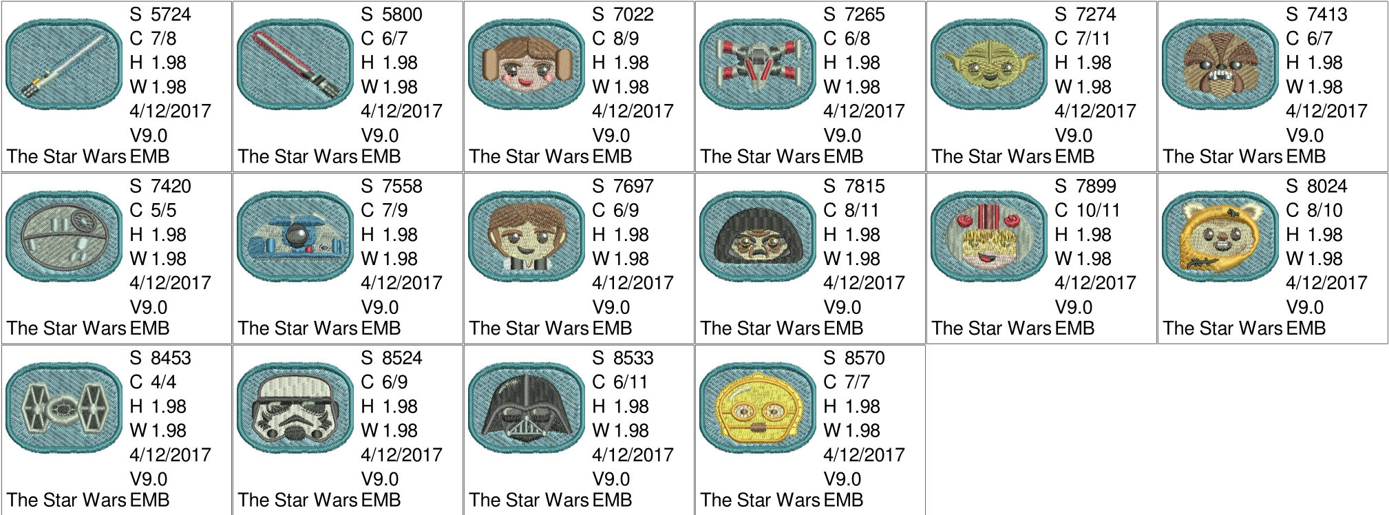 Star Wars Embroidery Pattern Star Wars Emojis Machine Embroidery Designs 16 Resizable Designs For Badges Key Fobs Tshirts Hats Towels Bibs