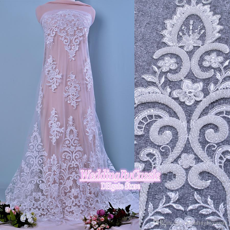 Wedding Dress Embroidery Patterns Beading French Lace Wedding Dress Lace Clothing Fabric Diy Materials Accessories M018
