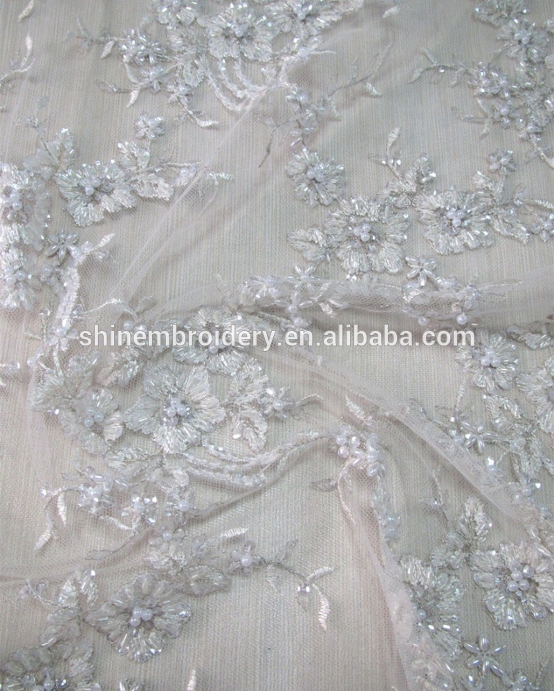 Wedding Dress Embroidery Patterns Fancy White Tulle Fabric With Hand Embroidery Beads Sequins Fabric For Wedding Dress Buy Hand Embroidery Designswhite Bridal Lace Fabriclace With