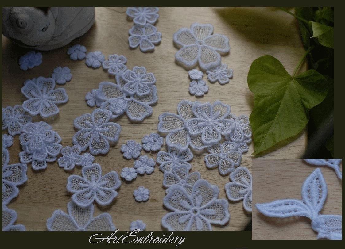 Wedding Dress Embroidery Patterns Fsl Free Standing Lace Flowers Machine Embroidery Designs Set For Hoop 4x4