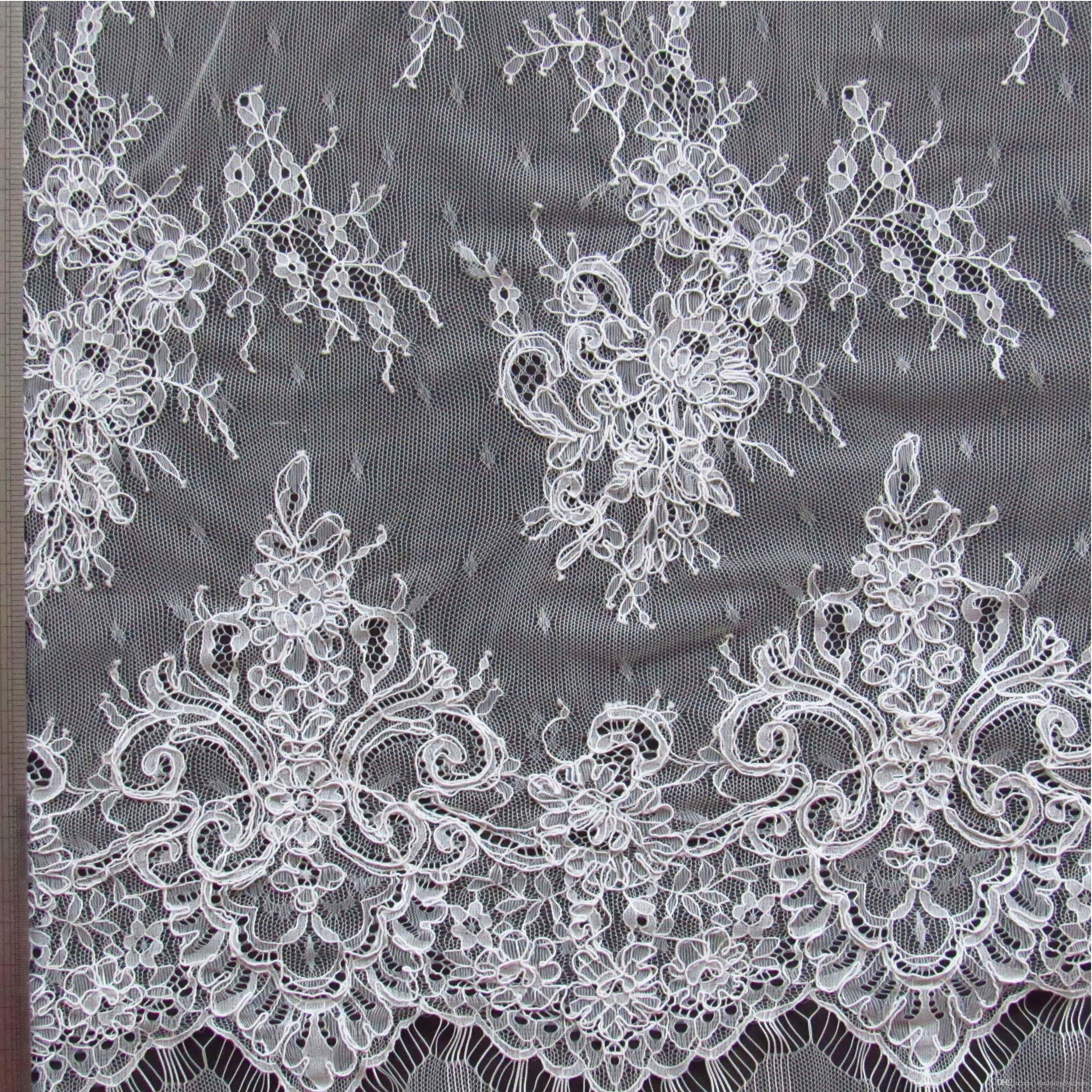 Wedding Dress Embroidery Patterns High Quality 3 Meters White French Lace Wedding Dress Gauze Clothing Fabric Materials Dz05
