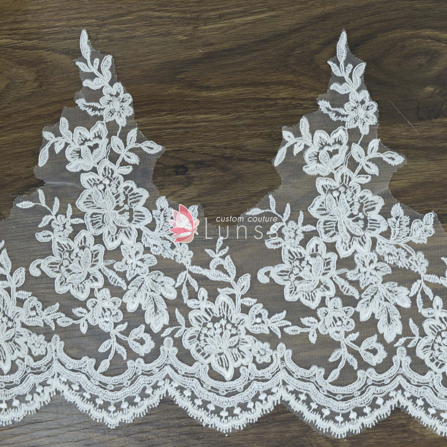 Wedding Dress Embroidery Patterns High Quality Ivory Wide Corded Embroidered Floral Bridal Lace Trim16 Yardspiece
