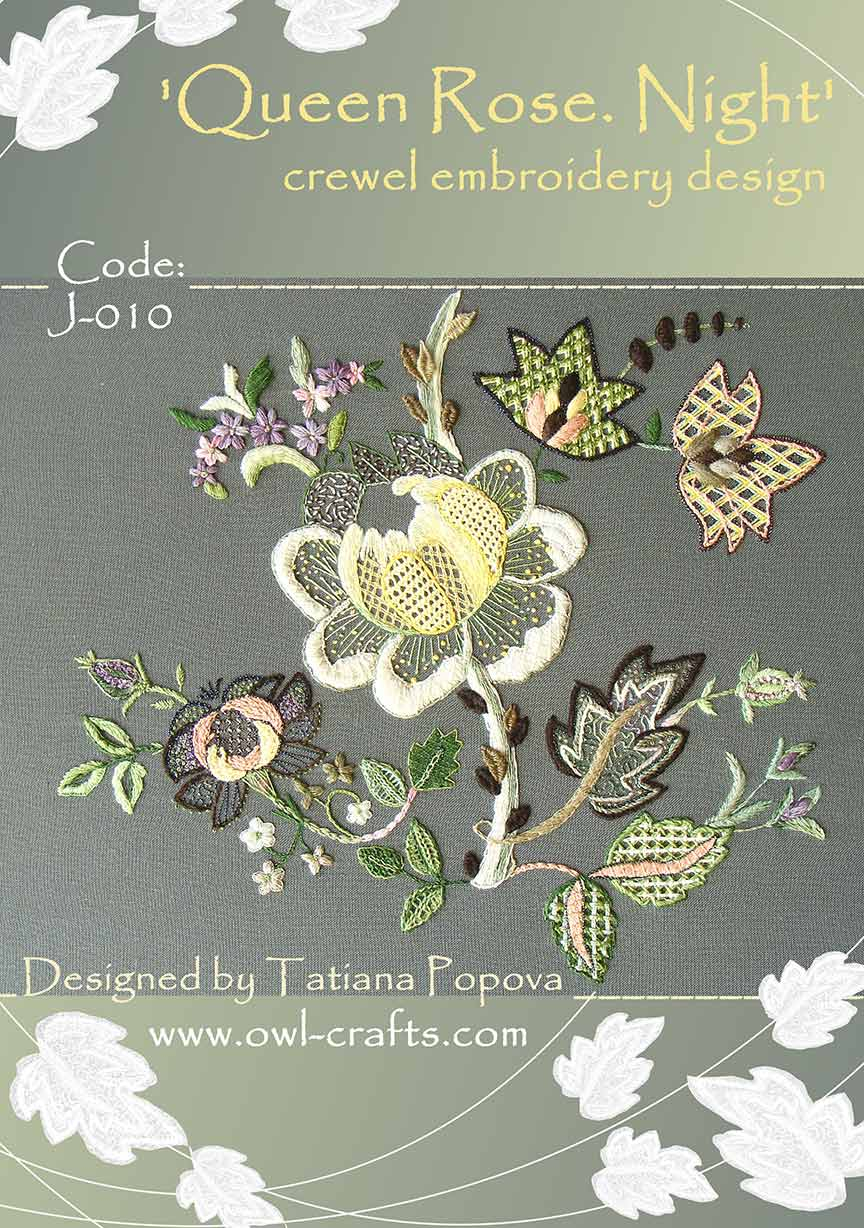 Wedding Dress Embroidery Patterns Queen Rose Night Crewel Embroidery Design