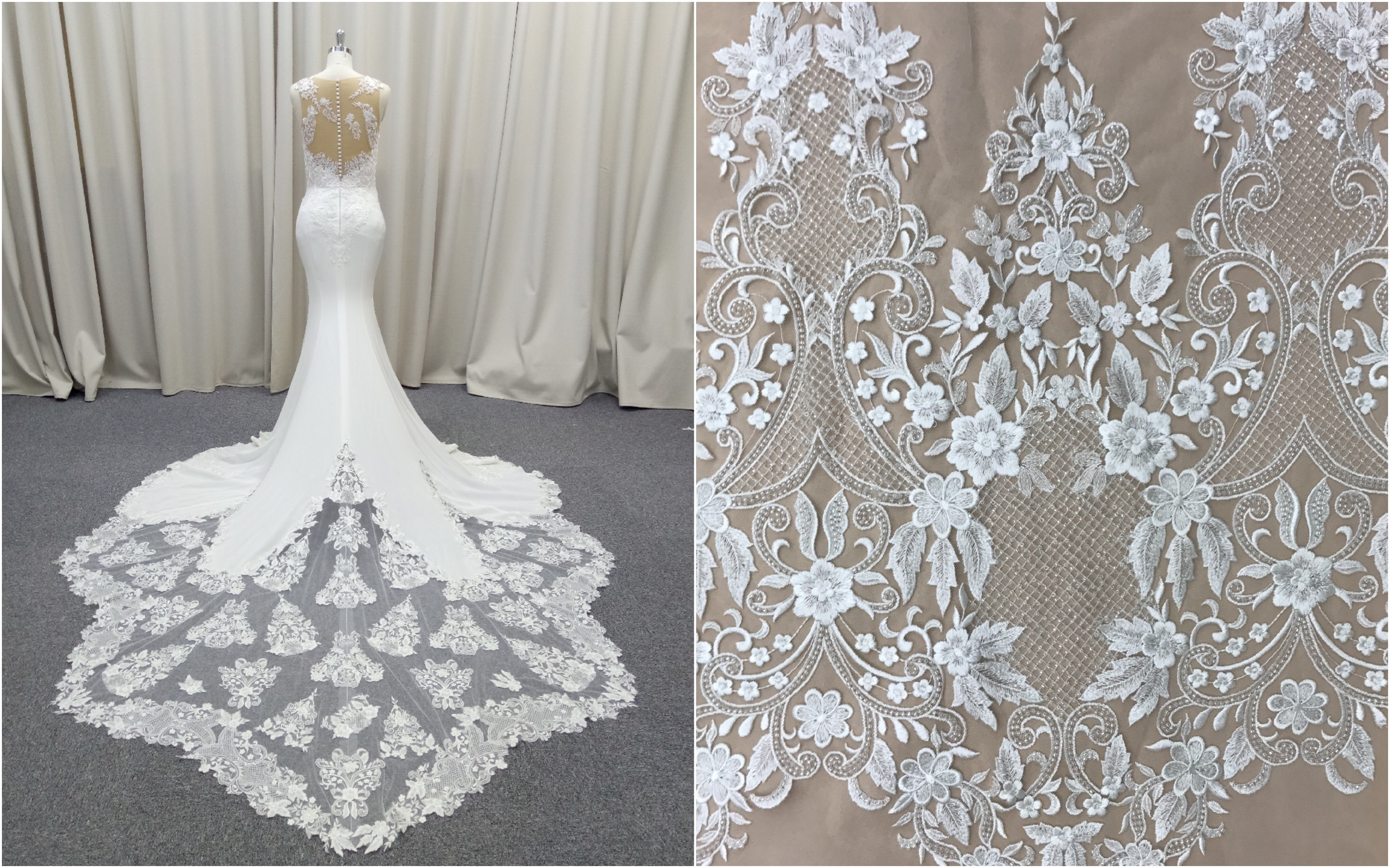 Wedding Dress Embroidery Patterns These Wedding Dresses With Lace Cutout Trains Deserve A Double Take