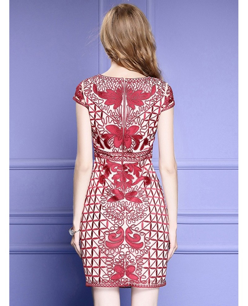 Wedding Dress Embroidery Patterns Unique Embroidery Pattern Bodycon Wedding Guest Dress With Cap Sleeves Zl8038 Gemgrace