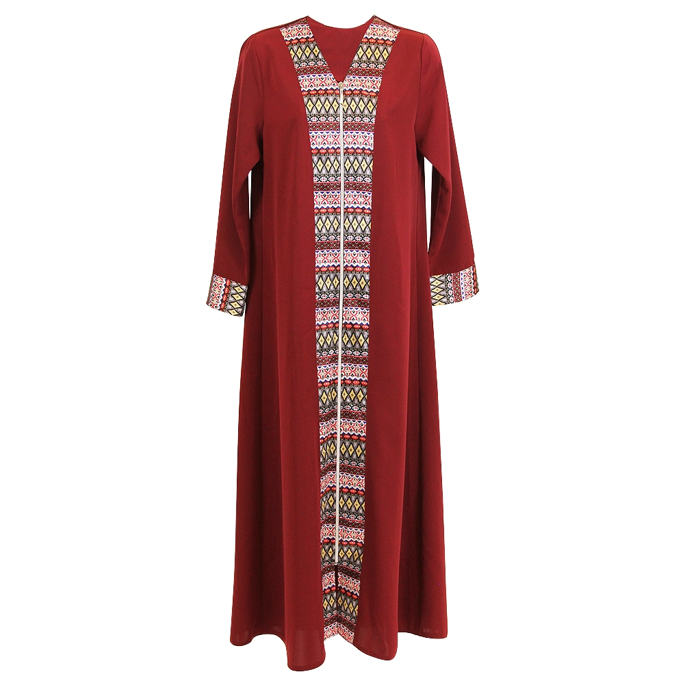 Abaya Embroidery Patterns Cherry Red Long Sleeve Modern Full Open Abaya With Print Pattern Design