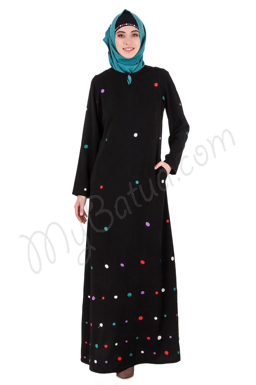 Abaya Embroidery Patterns Colorful Embroidered Polka Dot Abaya