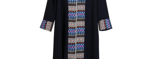 Abaya Embroidery Patterns Girls Navy Blue Long Sleeve Modern Full Open Abaya With Print Pattern Design