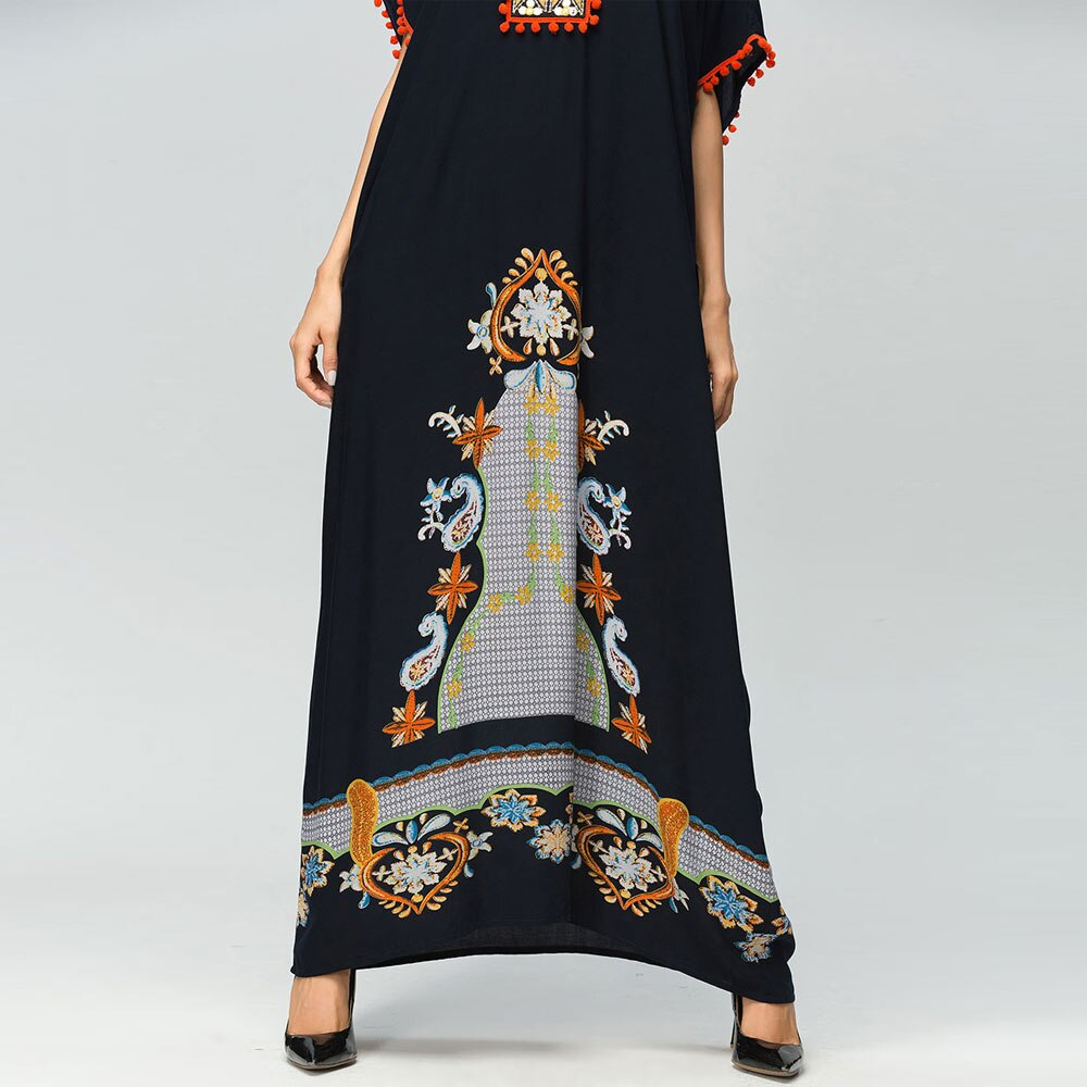 Abaya Embroidery Patterns Muslim Black Abaya Vintage Floral Embroidery Patchwork Short Bat Sleeve Women Loose Maxi Dress Dubai Arab Eid Robe Gown Vkdr1280 In Islamic Clothing