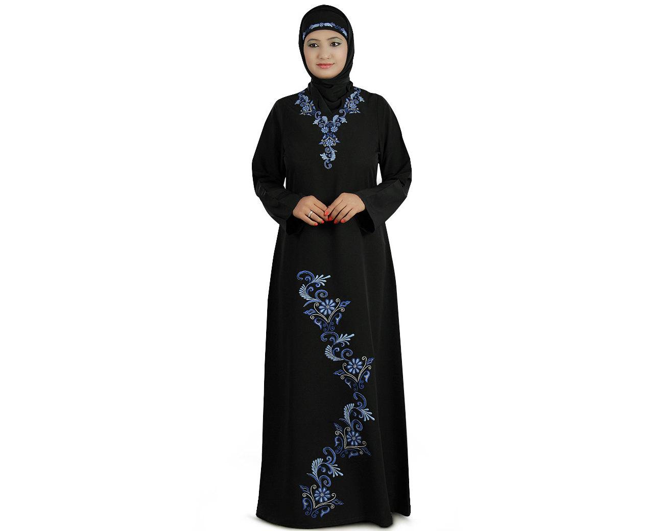 Abaya Embroidery Patterns Mybatua Traditional Black Embroidered Kashibo Abaya Islamic Evening And Party Wear Gown Elegant Muslim Clothing Jilbab Jalabiya Ay 203