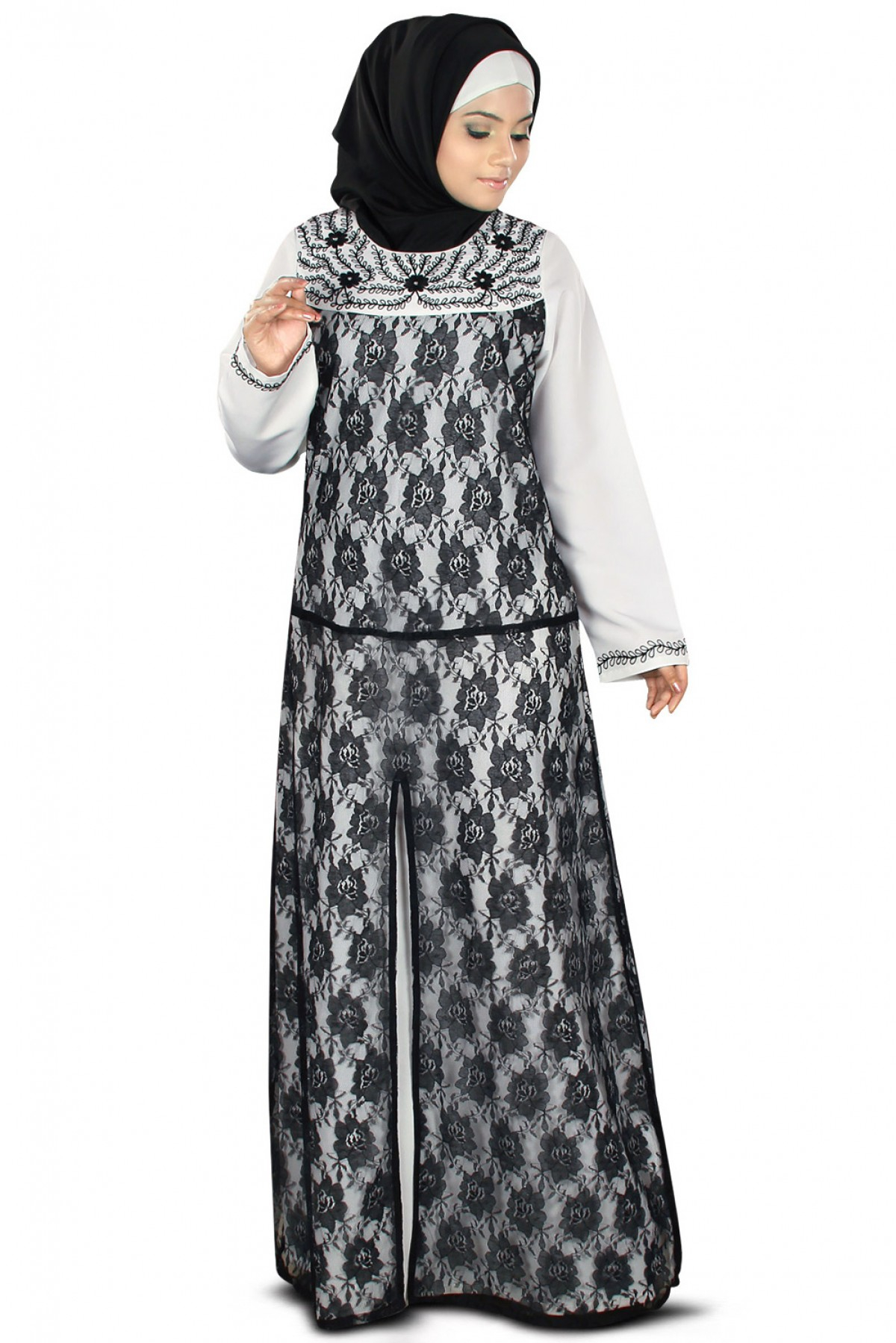 Abaya Embroidery Patterns Net And Polyester Embroidery Party Wear Abayas In Black And White Colour