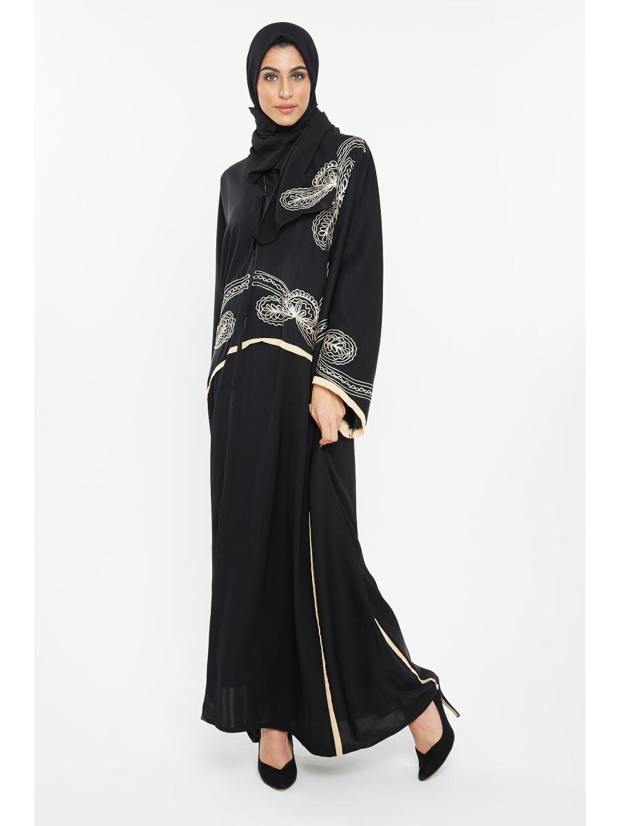 Abaya Embroidery Patterns Nukhbaa Womens Abaya Classic Embroidery Pattern Elegant Abaya