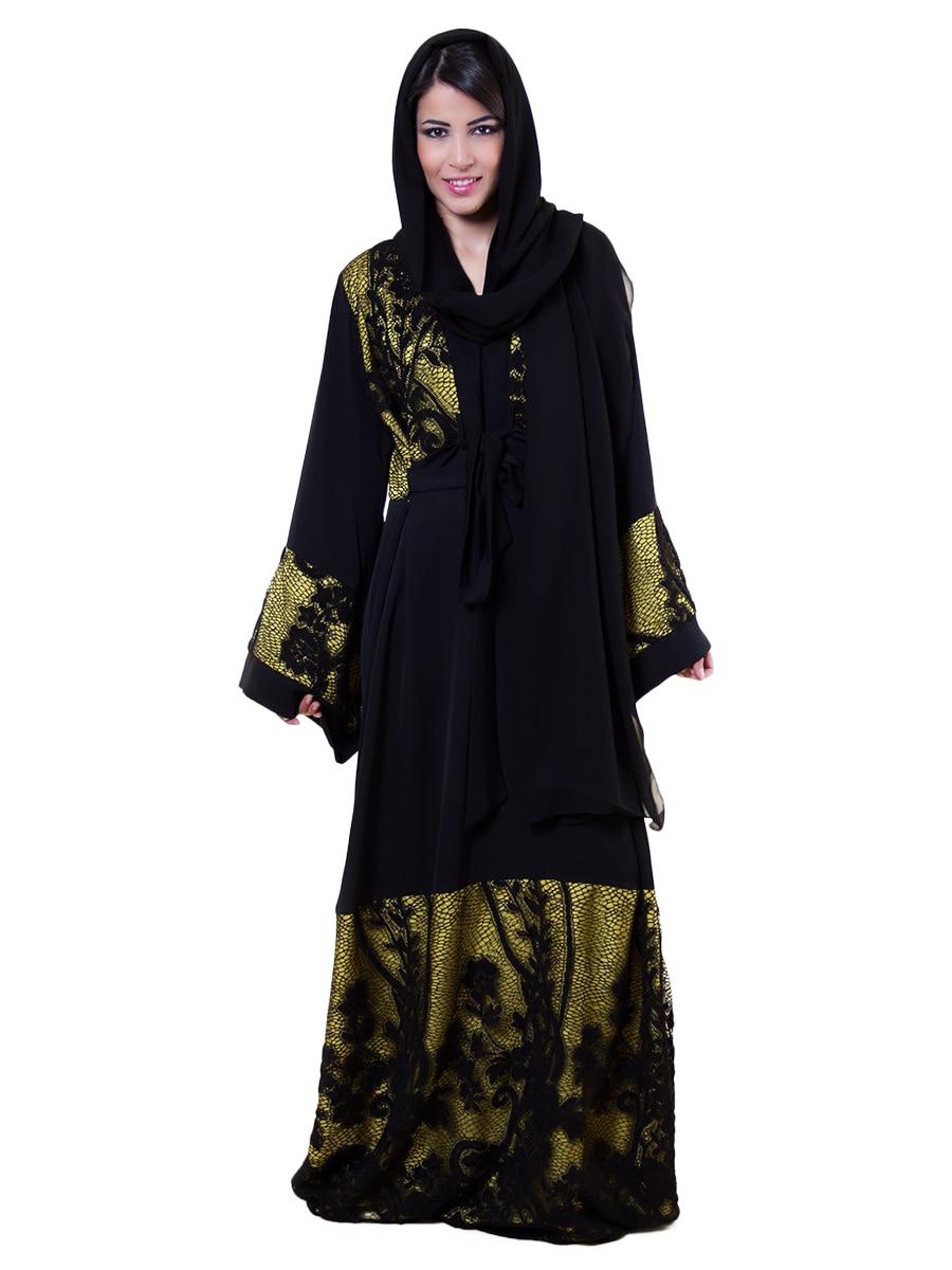 Abaya Embroidery Patterns Royal Couture Womens Abaya Floral Pattern Color Block Casual Abaya