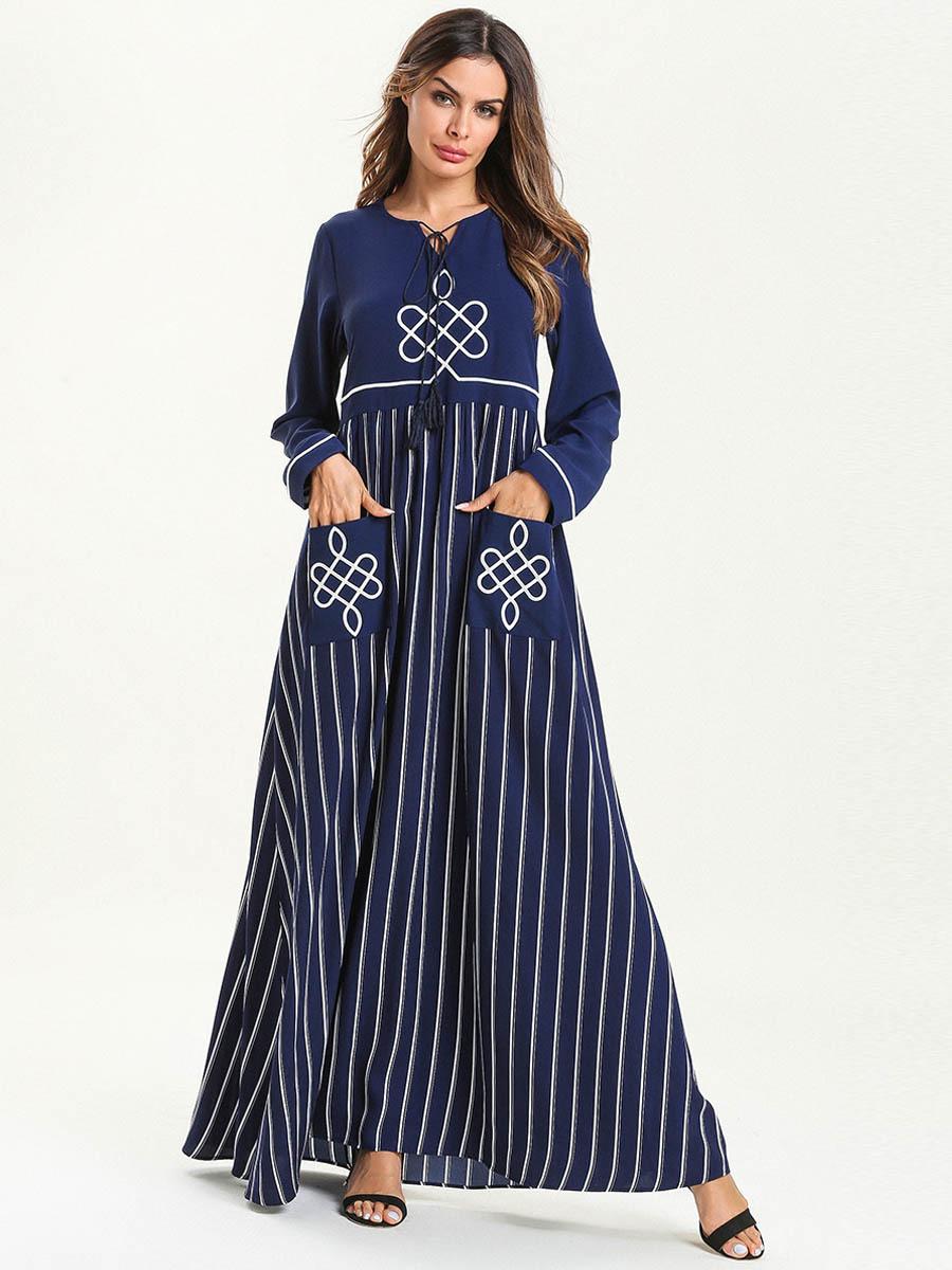 Abaya Embroidery Patterns Women Abaya Dubai Turkey Bangladesh Islamic Clothing Plus Size Kaftan Arabic Embroidery Blue Long Robe Muslim Maxi Dress 2019