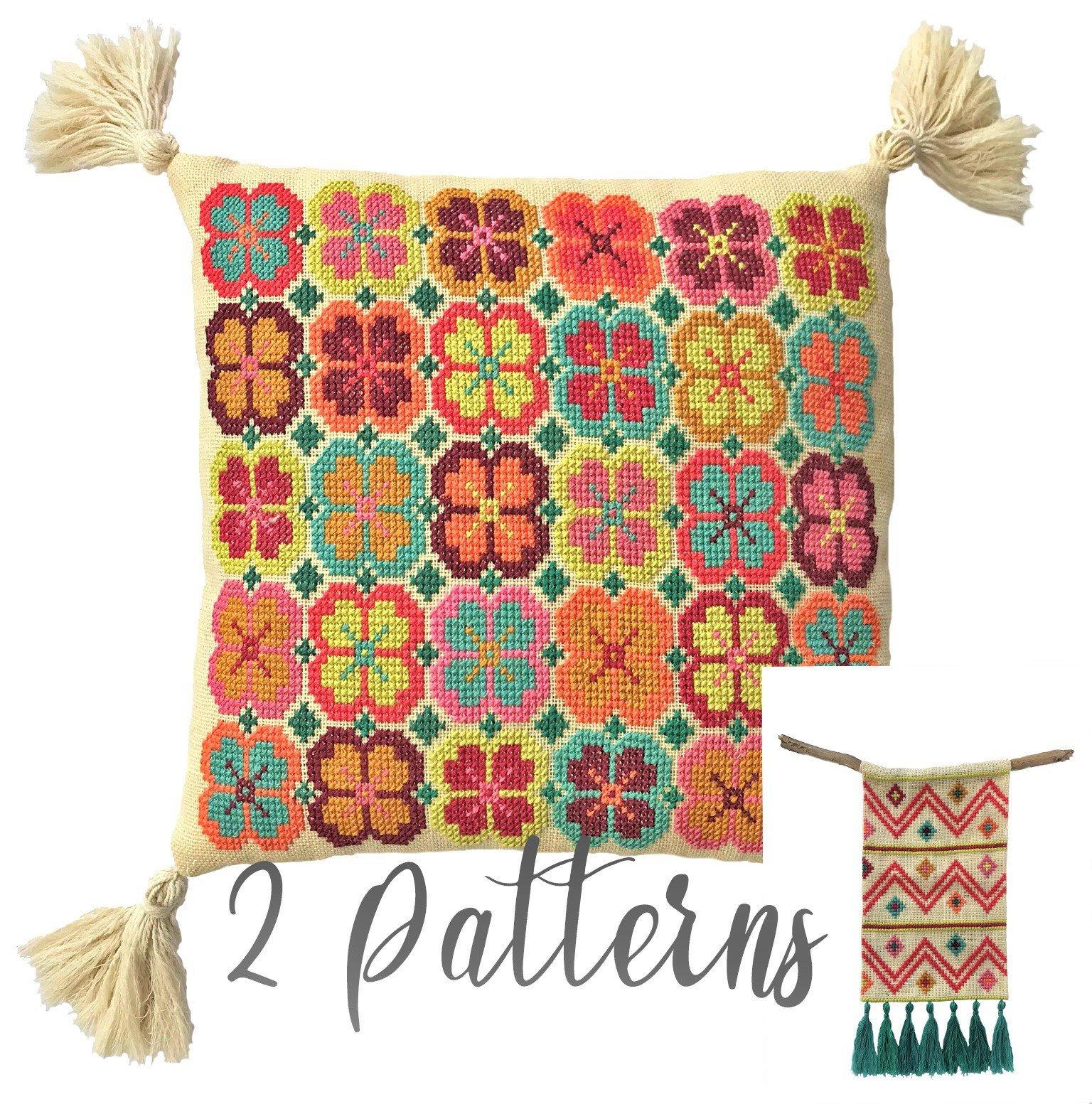 Bohemian Embroidery Patterns Bohemian Cross Stitch Pattern Diy Embroidery Cushion Wall Hanging Boho Inspired Needlework Pdf Instant Download Bundle 2 Patterns