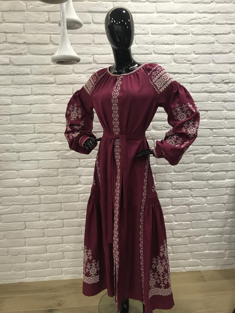 Bohemian Embroidery Patterns Bohemian Embroidered Dress Cherry Color With Pockets Ukrainian Boho Dress Ukrainian Wedding Dress Ukrainian Ethno Clothing